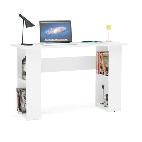 Multipurpose Boahaus Computer Desk, White, 2 Bookcases