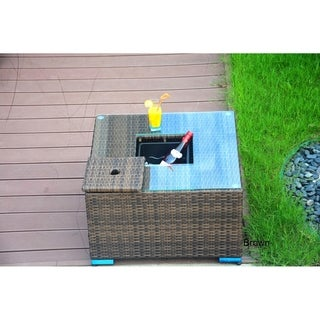 La Jolla Outdoor Wicker Coffee Table with Ice Bucket by Direct Wicker