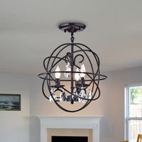Balyard Black Metal/Crystal 16-Inch 3-light Globe Cage Pendant