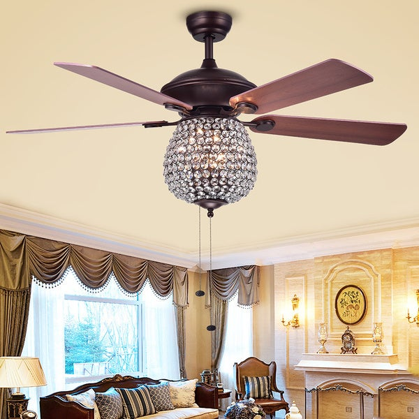 Warehouse of Tiffany Claudric Antique Chrome Crystal Basket 5-blade 52-inch Ceiling Fan