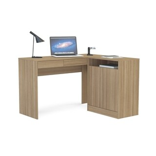 Boahaus Brown Laminate 2-drawer 1-cabinet L-desk