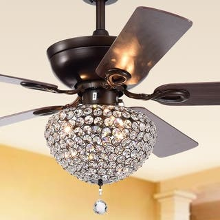 Ceiling fans for less overstock swarna antique bronze 3 light metal crystal 5 blade 52 inch ceiling aloadofball Images