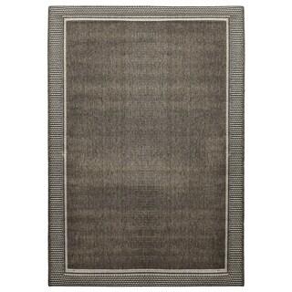 Alfresco Border Charcoal Indoor/Outdoor Rug (5'3 x 7'6)