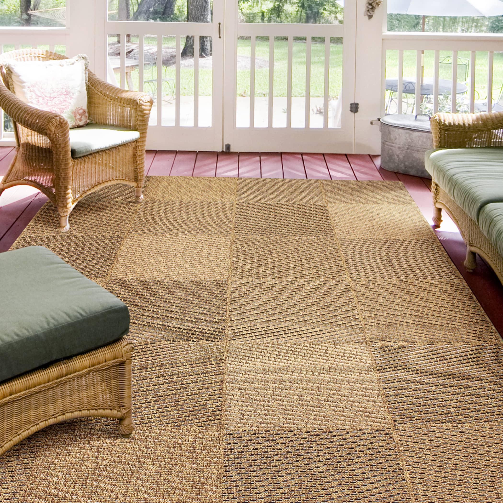 Alfresco Geometric Brown Indoor/Outdoor Rug (53 x 76) (Brown Indoor/Outdoor 53 x 76)