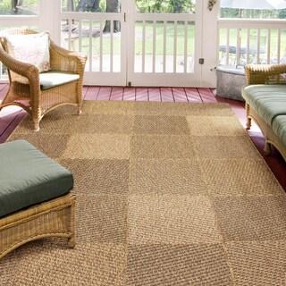 Alfresco Geometric Brown Indoor/Outdoor Rug (5'3 x 7'6)