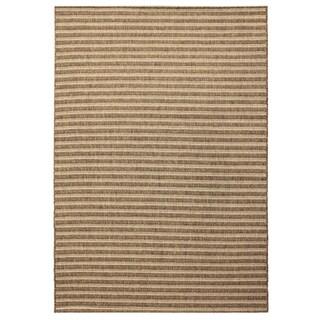 Alfresco Stripe Brown Indoor/ Outdoor Rug (5'3 x 7'6)