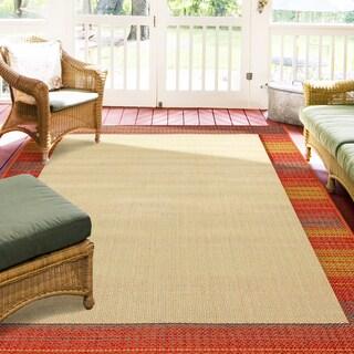 Hermosa Border Beige Indoor/Outdoor Rug (5'3 x 7'6)