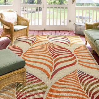 Hermosa Floral Red Multi Indoor/Outdoor Rug (5'3 x 7'6)