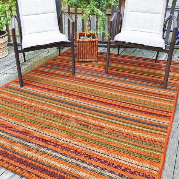Chic Indoor Outdoor Stripe Rugs 6 Colors Available: Shop Hermosa Multicolor Striped Indoor Outdoor Rug (5'3 X