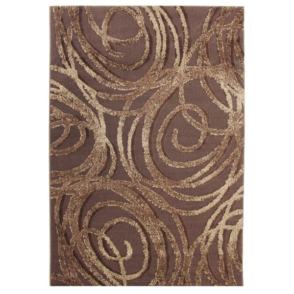 Inspiration Abstract Brown Area Rug (5'3 x 7'5)