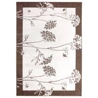Inspiration Floral Beige Brown Area Rug (5'3 x 7'5)