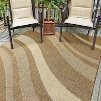 Alfresco Abstract Brown Indoor/Outdoor Flat Weave Area Rug (5'3 x 7'6)