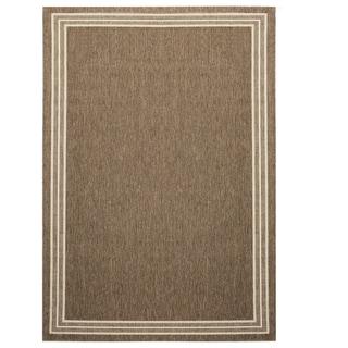 Alfresco Border Brown Indoor/Outdoor Flat-weave Rug (6'7 x 9')