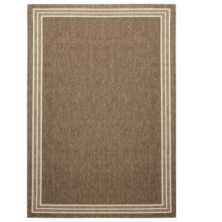 Alfresco Border Brown Indoor/Outdoor Flat-weave Rug (6'7 x 9')