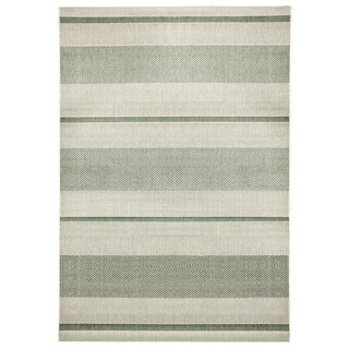 Alfresco Stripe Khaki Indoor/Outdoor Flatweave Rug (5'3 x 7'5)