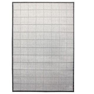 Alfresco Stripe Silver Indoor/ Outdoor Flat Weave Rug (6'7 x 9')