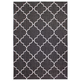 Alfresco Trellis Black Indoor/Outdoor Rug (5'3 x 7'6)