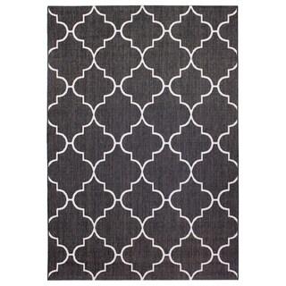 Alfresco Trellis Black Indoor/Outdoor Rug (5'3 x 7'6)