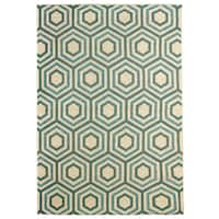 Hermosa Geometric Green Indoor/Outdoor Rug (5'3 x 7'6)