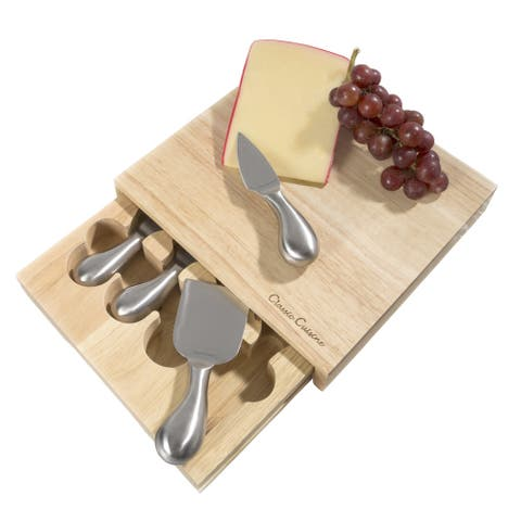 Classic Cuisine Cheese Board 5 piece Set with Stainless Steel Tools and Wood Cutting Block