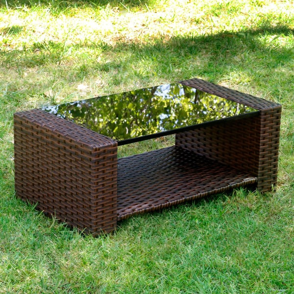 Brown Rattan Coffee Table Outdoor: Prima Outdoor Brown Rattan-shelled Stainless Steel Glass