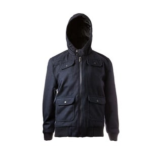 Boys Black-Out Hooded Wool Blend Bomber Jacket