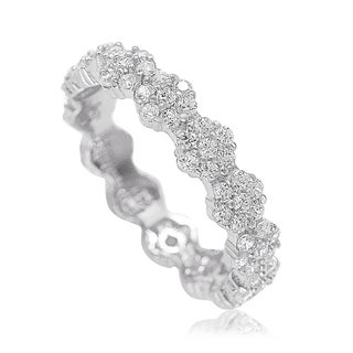 Suzy L. Sterling Silver Cubic Zirconia Floral Eternity Band - White