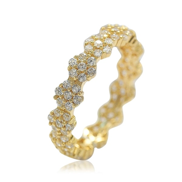 Suzy L. Golden Sterling Silver Cubic Zirconia Floral Eternity Band - Yellow