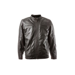 Boys Zip Front Vegan Leather Updated Moto with Faux Sherpa Body Lining
