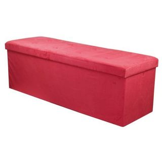 Sorbus Storage Bench Chest Large Red Contemporary Faux Suede