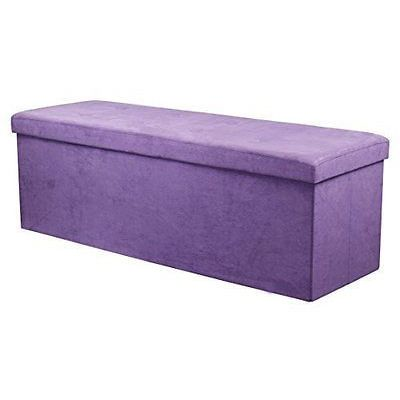 Sorbus Storage Bench Chest Large Purple Contemporary Faux Suede