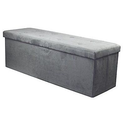 Sorbus Storage Bench Chest Large Grey Contemporary Faux Suede