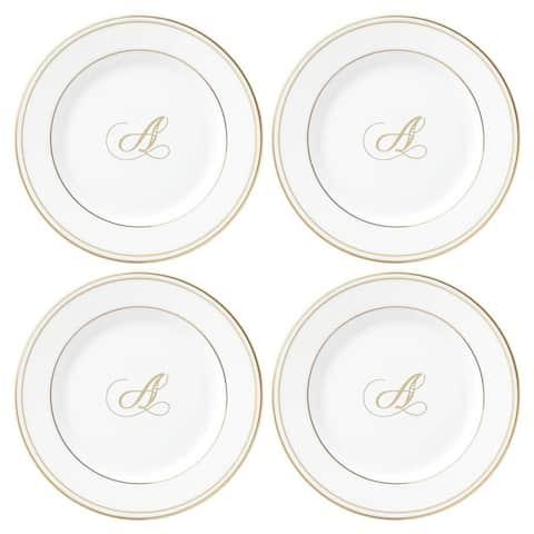 Lenox Federal Gold Script Monogram Tidbit Plates - Set of 4