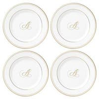 Lenox Federal Gold Script Monogram Tidbit Plates - Set of 4