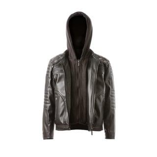 Vegan Leather Moto. Quilted Sleeve Details, Zip Out Fleece Bib & Hood