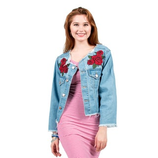 Xehar Women's Distressed Floral Print Denim Jacket