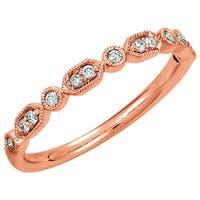 Auriya 10K Gold 1/8ct TDW Stackable Vintage-Inspired Diamond Wedding Band