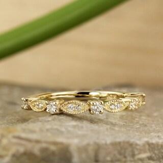 Auriya 0 20cttw Petite Ultra Thin Vintage Stackable Diamond Ring 10K Gold