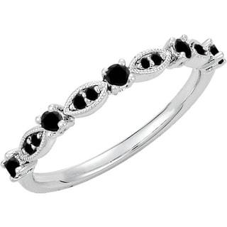 Auriya 10K Gold  Vintage-Inspired Stackable 1/5ct TDW Black Diamond Ring
