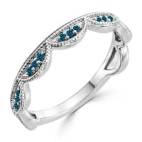 Auriya 10K Gold 1/8ct TDW Petite Blue Diamond Tiara Stacking Ring