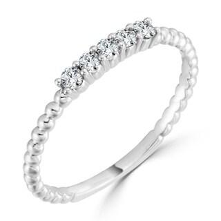 Auriya 10K Gold Stackable 1/6ct TDW Diamond Bead Ring