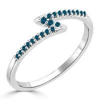 Auriya 10K Gold 1/8ct TDW Petite Stackable Blue Diamond Lightning Bolt Zig-Zag Ring