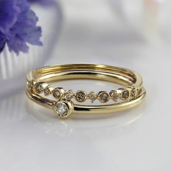 Auriya 10k Gold 1/10ctw Petite Stackable Accent Diamond Wedding Band Ultra-thin