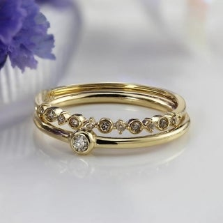 Auriya 10K Gold 1/10ct TDW Stackable Diamond Bezel Wedding Ring Band