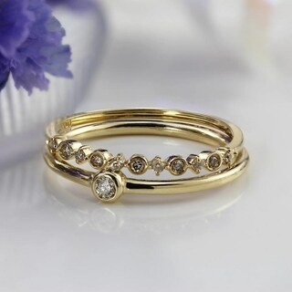 Auriya 10K Gold 1/10ct TDW Petite Ultra-Thin Diamond Accent Stacking Ring