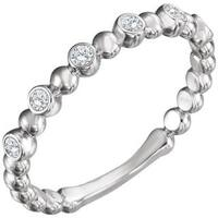 Auriya Women's 10K Gold 1/8ct TDW Bezel Set Diamond Beaded Bubble Stackable Ring