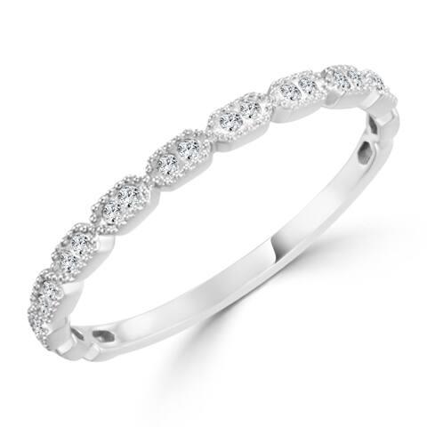 Auriya Petite Ultra-Thin Stackable Vintage Diamond Wedding Band 0.08ct TDW 10K Gold