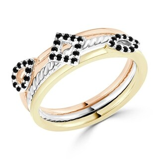Auriya Geometric Tri-Color Stackable Black Diamond Ring 1/5cttw 10K Gold