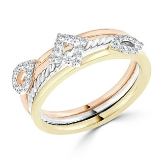 Auriya 10k Gold Tri-Color  1/5ct TDW Diamond Geometric Triple Band Stackable Ring