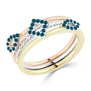 Auriya Geometric Tri-Color Stackable Blue Diamond Ring 1/5cttw 10K Gold